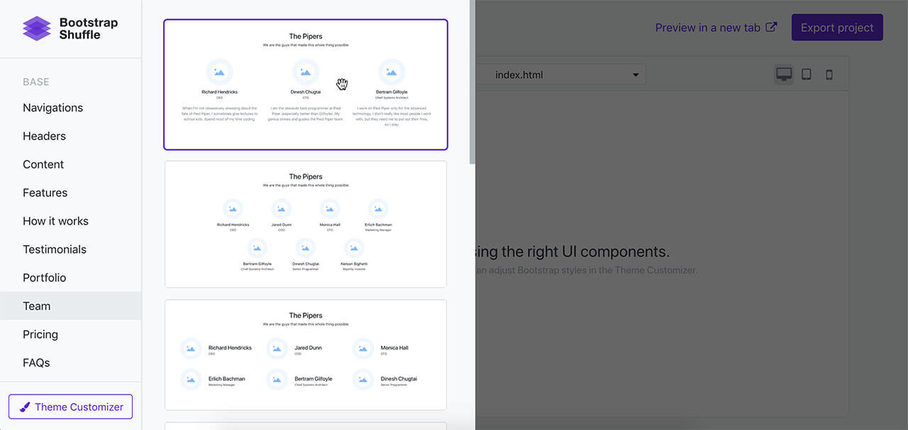 Bootstrap Shuffle | Bootstrap builder for busy developers